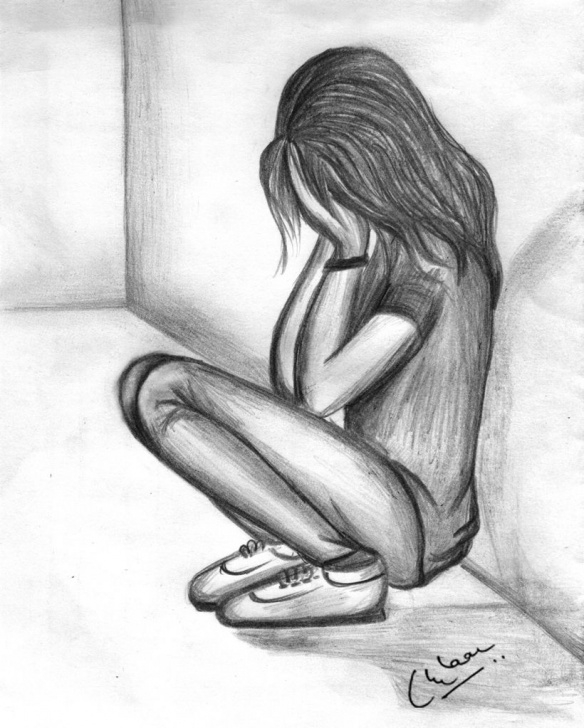 Incredible Sad Love Pencil Sketches Tutorials Pencil Sketch Of A Sad Girl | Art In 2019 | Sad Drawings, Sad Girl Pic
