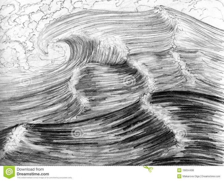 Incredible Sea Pencil Drawing Easy Pencil Sketch Drawing For Beginners Ocean And Sea Waves, Hand Drawn Photo