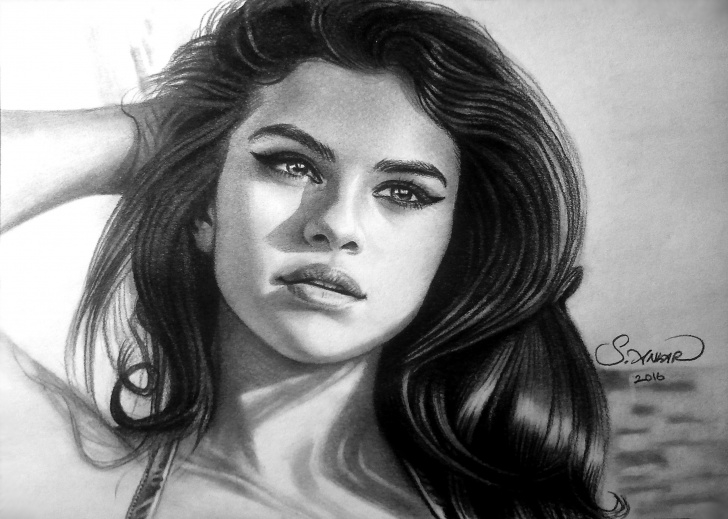 Incredible Selena Gomez Pencil Sketch Tutorials Selena Gomez Sketch At Paintingvalley | Explore Collection Of Pics
