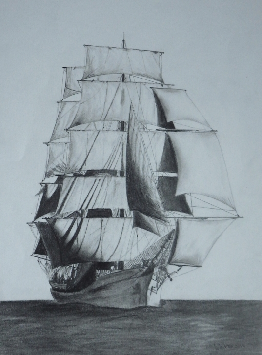 Incredible Ship Pencil Sketch Tutorial $150 Picton Castle Sail Ship. Pencil Drawing By Elena Whitman. Was Pic