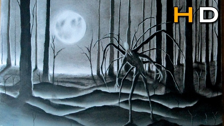 Incredible Slender Man Drawings In Pencil Ideas Slenderman In The Forest Speed Drawing - Scary Art - Timelapse Pictures