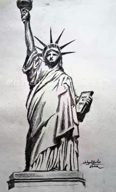 Incredible Statue Of Liberty Pencil Drawing Free Pencil Sketch Statue Of Liberty, | Shahzad Saifi Sketch In 2019 Pictures