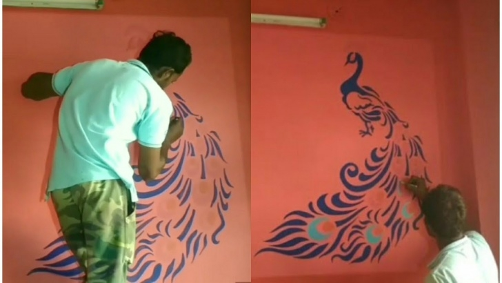 Incredible Stencil Art 3D Techniques Stencil Peacock 3D Royale Play Texture Wallpaper Wall Paint 3D Design Using  Led Projector Images