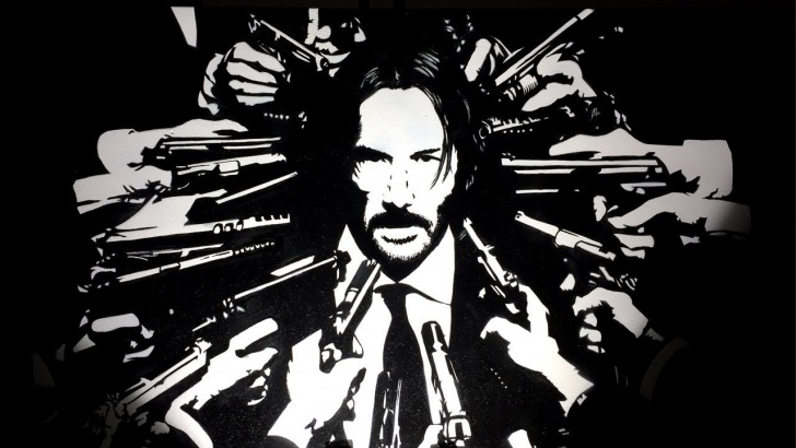 Incredible Stencil Art Black And White Simple John Wick 3 Spray Paint Stencil Art Pic
