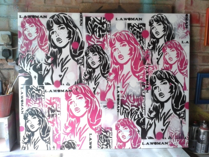 Incredible Stencil Art Girl Tutorial Lichtenstien Style Painting Comic Girl L.a Woman Stencil Art Spray Paint  Art Canvas Bedroom Los Angeles America Pop Art Doors Home Living Photos