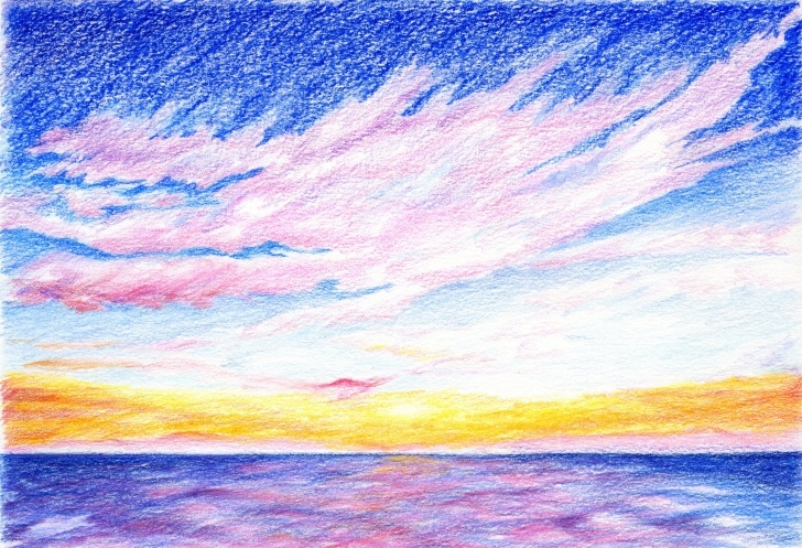 Incredible Sunset Drawing With Color Pencil Tutorial Sunset .drawing With Colored Pencils | Silouette | Colored Images