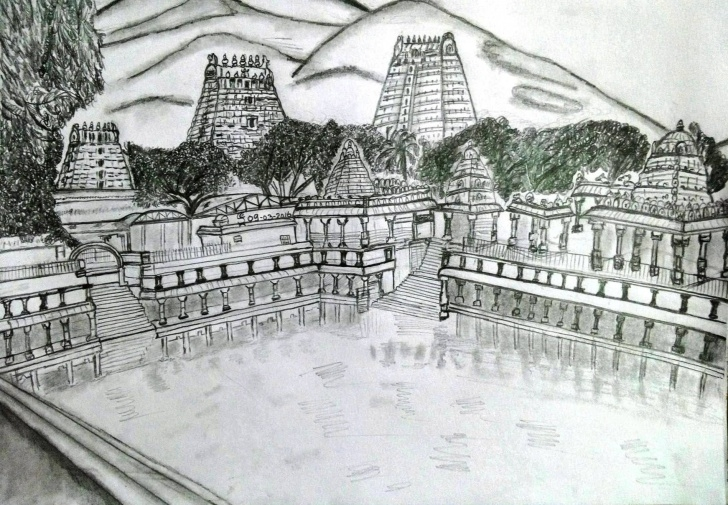 Incredible Temple Pencil Drawing Free Pin By J Elangovan On Pencil Art | Pencil Drawings, Drawings, Pencil Art Pics