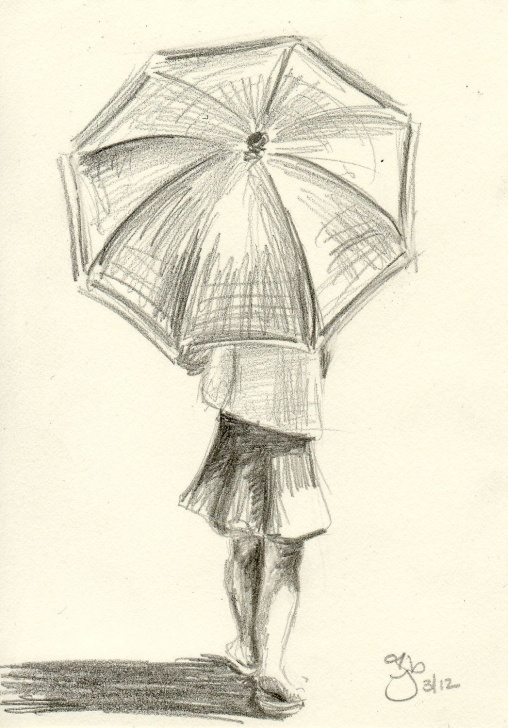 Incredible Umbrella Pencil Drawing Ideas Girl With Umbrella - 8X10 Art Print | Umbrella In 2019 | Drawings Pictures