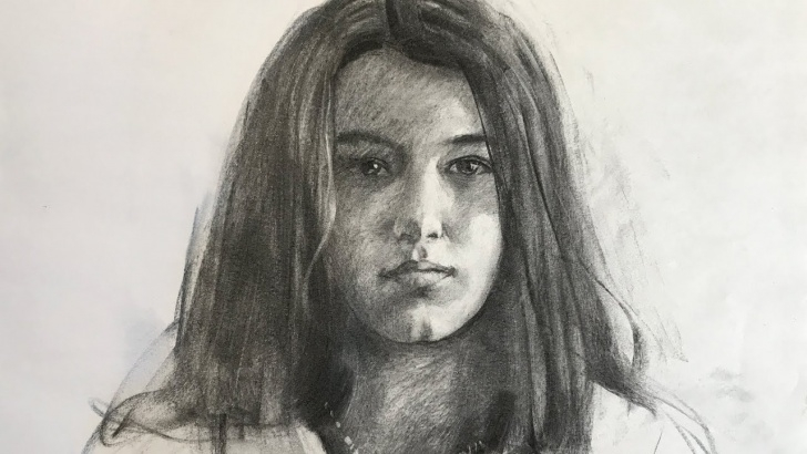 Incredible Vine Charcoal Drawing Courses Portrait #91 - Drawing Of Girl From Life With Vine Charcoal Picture