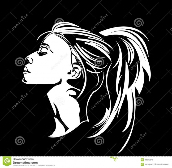 Incredible Woman Stencil Art Step by Step Stencils Women Long Hair Stock Illustration. Illustration Of Uses Photos