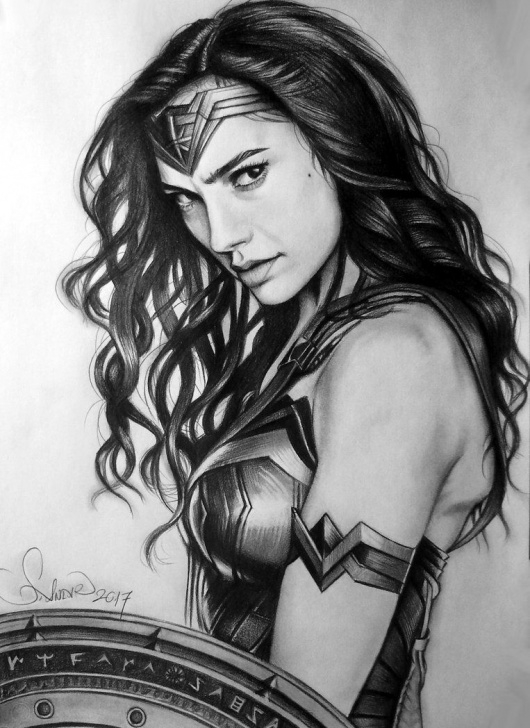 Wonder Woman Pencil Drawing