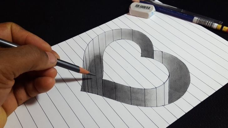 Inspiration 3D Pencil Sketch Ideas 3D Heart Sketch At Paintingvalley | Explore Collection Of 3D Image