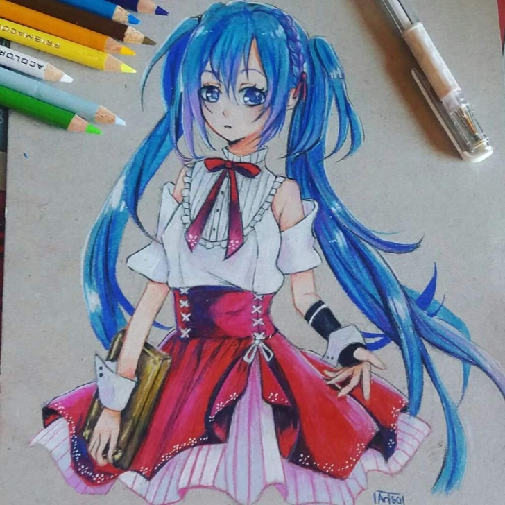 Inspiration Anime Colored Pencil Tutorials Hatsune Miku Colored Pencil Drawing Step By Step | Anime Amino Image