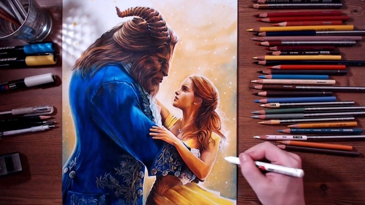 Inspiration Beauty And The Beast Pencil Drawing Tutorials Beauty And The Beast - Colored Pencil Drawing | Drawholic Photos