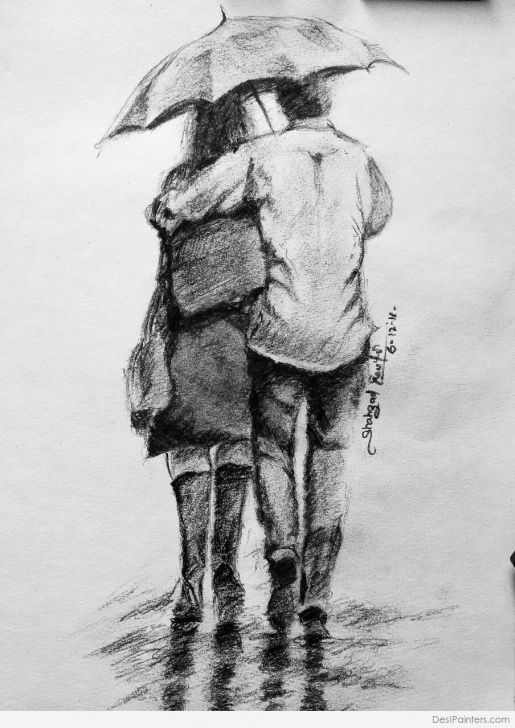 Inspiration Boy And Girl Image Love In Rain Pencil Lessons Pencil Sketch Of A Couple In Rain | Desipainters Photo