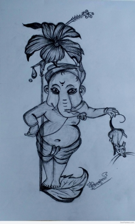 Inspiration Ganpati Bappa Pencil Sketch for Beginners Great Pencil Sketch Of Ganpati Bappa | Desipainters Pictures