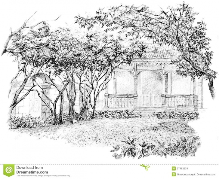 Inspiration Garden Pencil Drawing Simple Pencil Perspective Drawing Of Garden Stock Illustration Picture