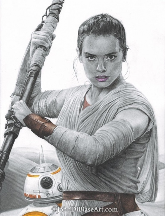Inspiration Graphite And Colored Pencil Drawing Courses Drawing Print Of Colored Pencil / Graphite Drawing Of Daisy Ridley As Rey  W/ Bb-8 From Star Wars: The Force Awakens Pic