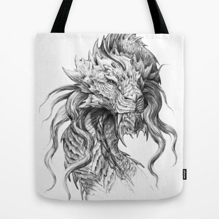 Inspiration Graphite Pencil Art Courses Dark Side Japanese Dragon Portrait | Graphite Pencil Art Tote Bag Picture