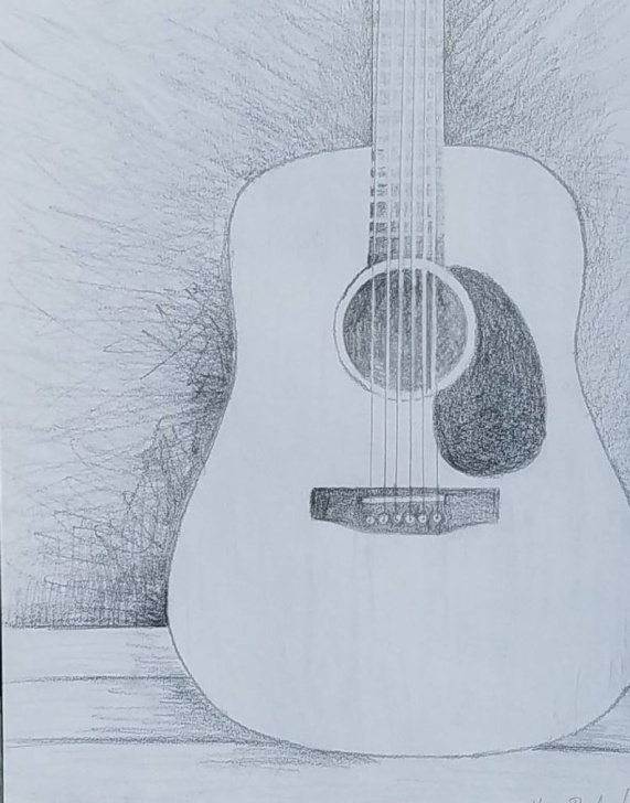 Inspiration Guitar Pencil Sketch Simple Acoustic Guitar Pencil Drawing, Guitar Lover Gift, Music Room Decor,  Instrument Wall Art, Music Themed Bedroom, Rock And Roll Nursery Pics