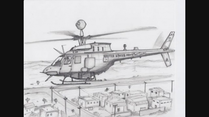 Inspiration Helicopter Pencil Drawing for Beginners How To Draw A Oh-58D Kiowa Warrior Helicopter (Freehand Sketch) Pictures