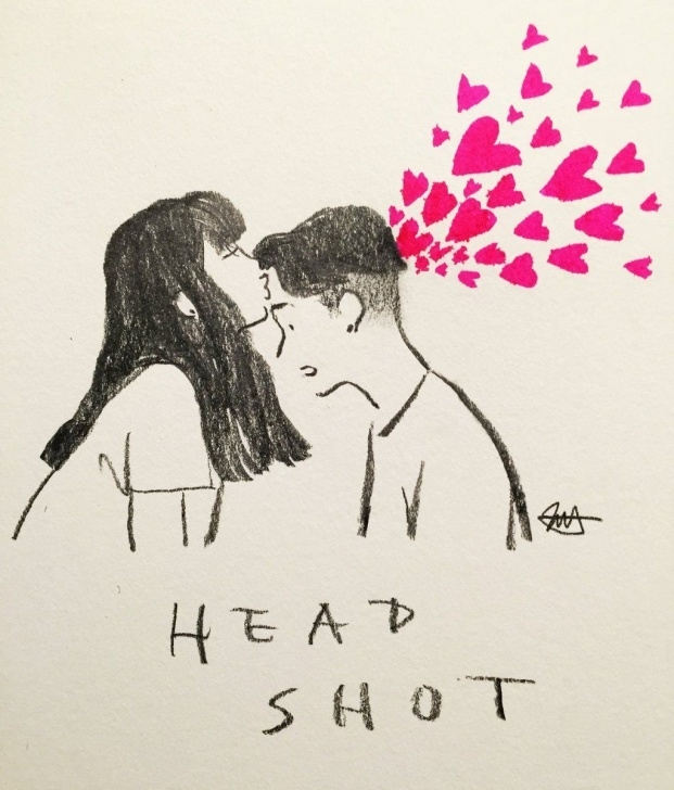 Inspiration Love Couple Sketch Art for Beginners Headshot <3 | By Jessoo Sketch [Art - Drawing - Pencil - Kiss - Love Photo