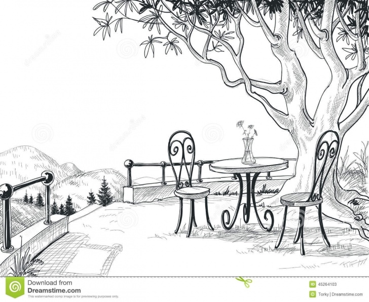Inspiration Outdoor Pencil Sketches Courses Restaurant Terrace Sketch Stock Vector. Illustration Of Dinner Images