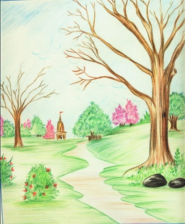 Inspiration Painting With Pencil Colour Free Scenery Drawing Pencil Colour Colour Pencil Scenery Drawings Color Pics