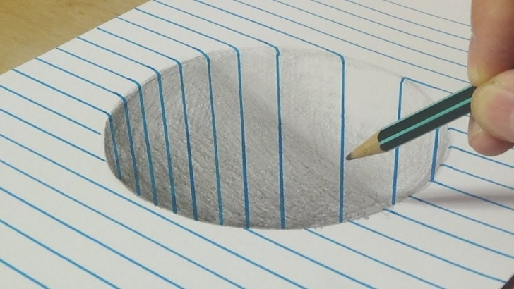 Inspiration Pencil And Paper Drawing Simple Drawing A Round Hole - Trick Art With Graphite Pencil - By Vamos Pic