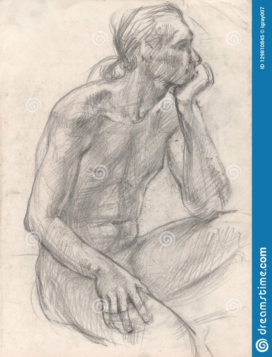Inspiration Pencil Sketch Human Figure Tutorial Figure Drawing In Pencil. Sitting Man. Stock Illustration Image
