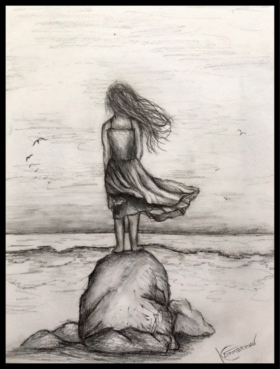 Inspiration Pencil Sketch Of A Girl Standing Courses An Easy Graphite Drawing Of A Girl Standing In The Ocean Breeze Image
