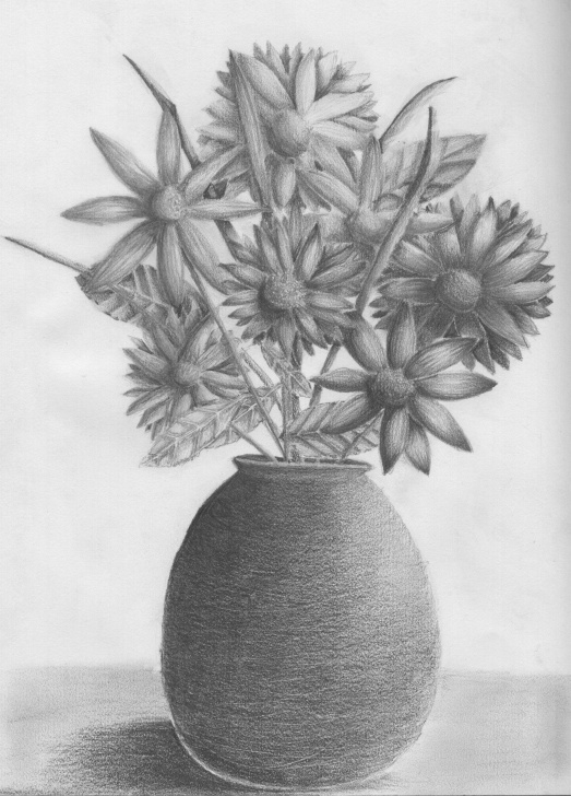 Pencil Sketch Of Flower Vase