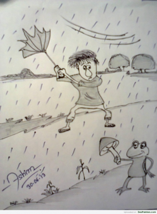 Inspiration Pencil Sketch Of Rainy Season Courses Pencil Sketch Of A Rainy Day | Desipainters Photos