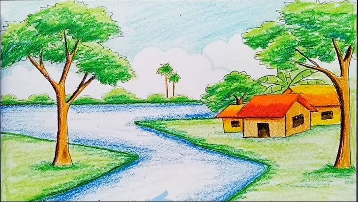 Inspiration Scenery Colour Pencil Drawing Simple How To Draw A Landscape With Diamond Color Pencil Pic