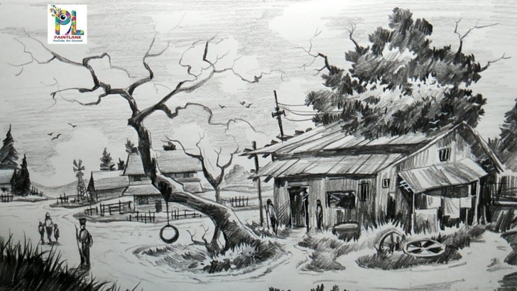 Inspiration Scenery With Pencil for Beginners How To Draw Easy And Simple Village Scenery With Pencil Step By Step Pic