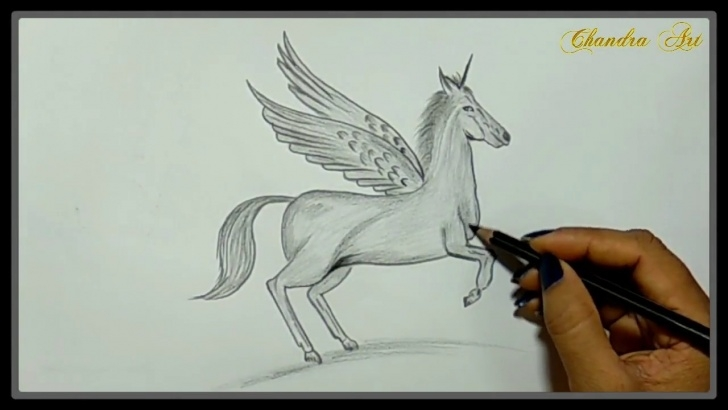 Inspiration Unicorn Pencil Drawing Lessons Cool Easy Drawings - Pencil Drawing A Beautiful Unicorn With Wings Image