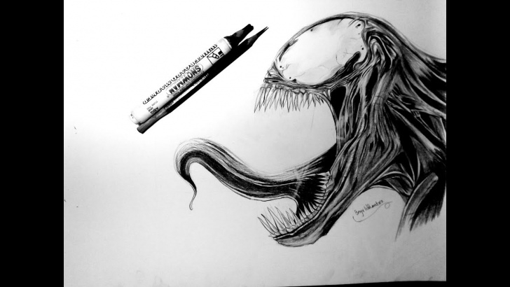 Inspiration Venom Drawings In Pencil Tutorials How To Draw Venom With Pencil Pics