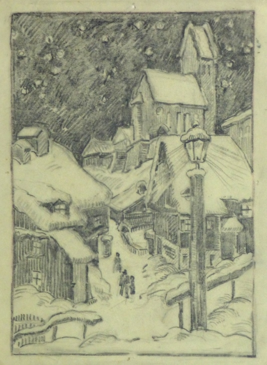 Inspiration Winter Pencil Drawings Courses Pencil Drawing - Winter Village, Circa 1930 Picture