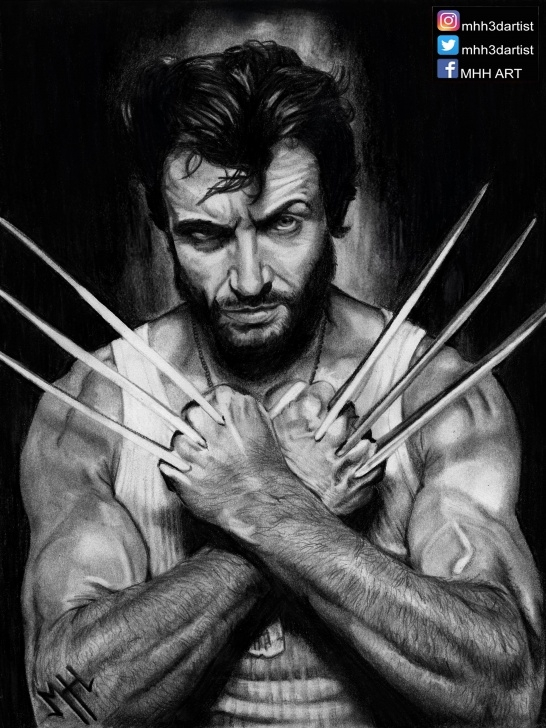 Inspiration Wolverine Pencil Drawing Ideas Wolverine ( Hugh Jackman ), Lead Pencil Drawing, 8.5X11 : Marvel Pics