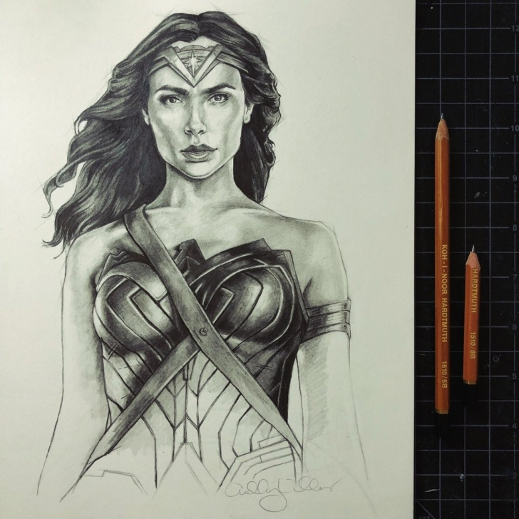 "Inspiration Wonder Woman Pencil Drawing Courses Ashley Villers (Winterthirteen) On Twitter: ""pencil ""Sketch"" Of Gal Pictures"