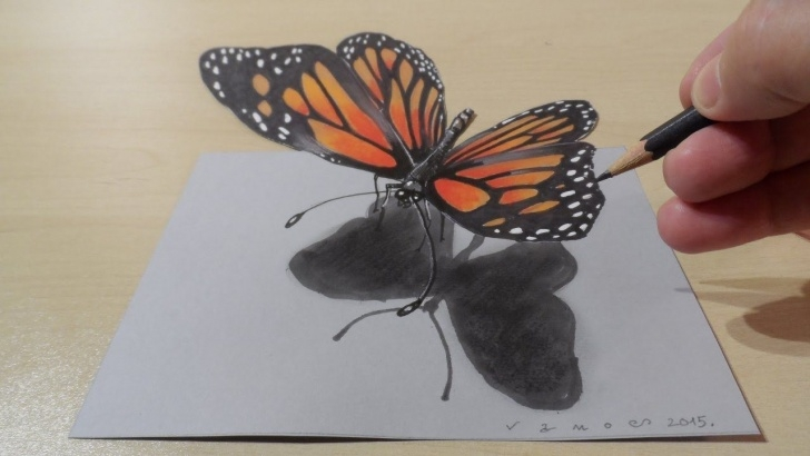 3D Butterfly Drawings In Pencil