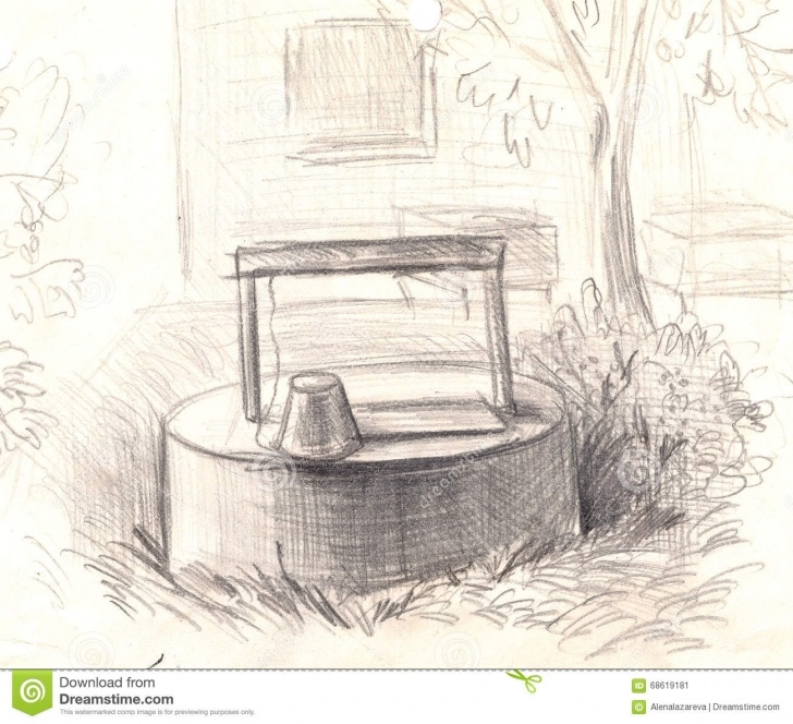 Inspiring Agriculture Pencil Drawing for Beginners Rural Well With Water. Hand Painted Pencil Drawing Stock Image