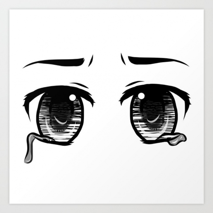 Inspiring Anime Stencil Art Lessons Sad; Anime Eyes Art Print Picture