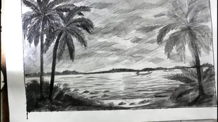 Inspiring Beach Pencil Sketch Lessons How To Draw A Beach With Pencil Step By Step/coconat Tree Beach Drawing Image