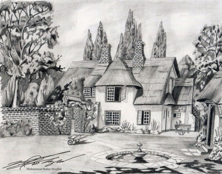 Inspiring Beautiful Scenery Sketch Free House Sketches | Pencil Sketches Of Nature Scenery | Blanks And Pic