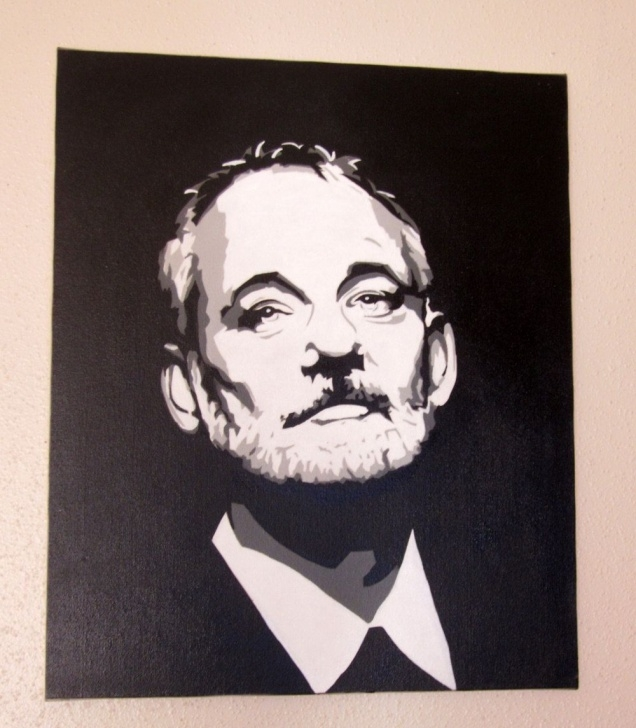 Inspiring Bill Murray Stencil Lessons Bill Murray Original Pop Art Spray Paint Stencil Canvas 20X24 Image