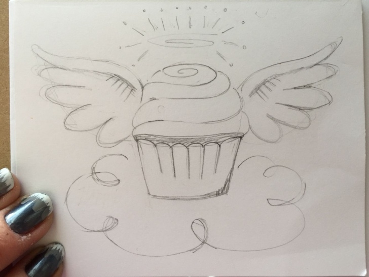 Inspiring Birthday Pencil Drawings Techniques for Beginners Pencil Sketch Angel Cupcake. For Front Of Birthday Card | Pencil Photos