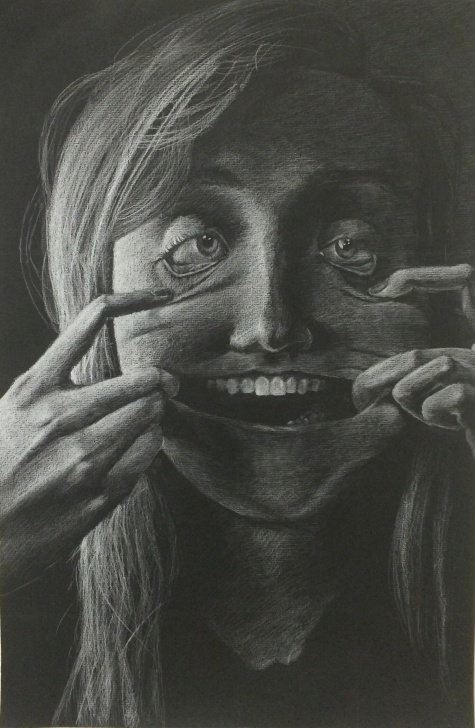 Inspiring Black And White Charcoal Drawings Step by Step White Charcoal On Black Paper : Drawing Pics