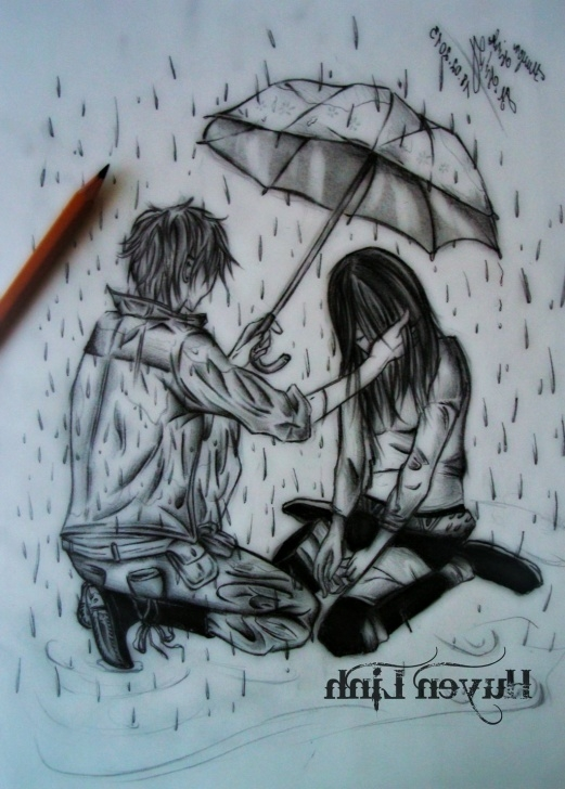 Inspiring Boy And Girl Image Love In Rain Pencil Simple Sad Sketch Images At Paintingvalley | Explore Collection Of Sad Photo