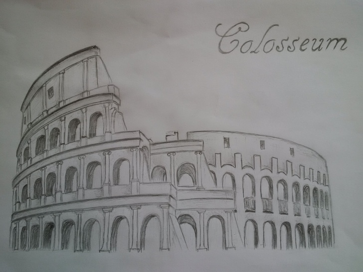Inspiring Colosseum Pencil Sketch Easy Drawing Colosseum ♥ | Places | Umění Pic